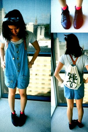 blue denim overall Rowme bodysuit - black ankle boots Style Nanda boots