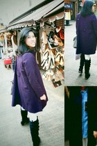 blue unknown shirt - black Wanted boots - deep purple asos jacket
