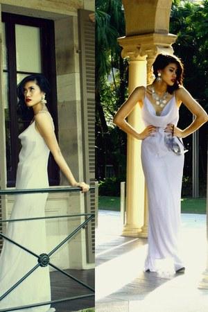 silver asos earrings - light purple Rush dress - black black heels betts heels