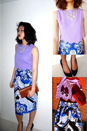 printed asos skirt - clutch Hong Kong market bag - Style Nanda top