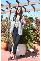 heather gray wool blazer - dark brown oxfords shoes - black high waisted tights