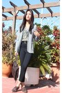 Dark-brown-oxfords-shoes-heather-gray-wool-blazer-black-high-waisted-tights