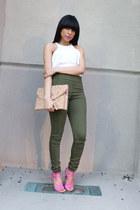 olive green Zara jeans - white Bebe top - bubble gum JustFab heels