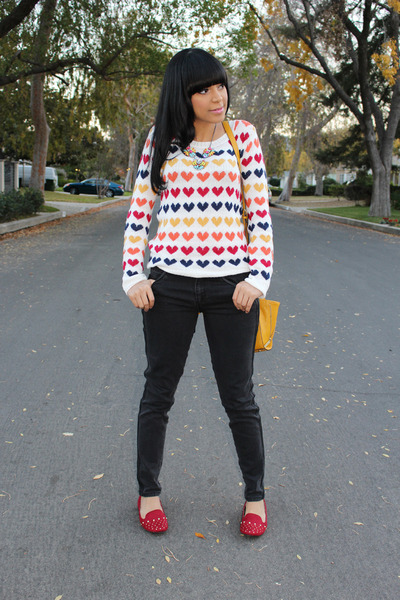 yellow printed Wetseal sweater - ruby red Payless loafers