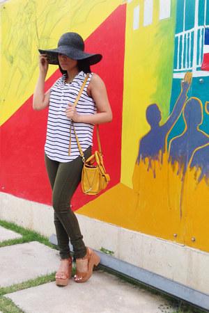 black floppy hat asos hat - olive green skinny Zara jeans