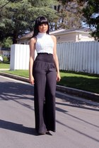 black wide leg Bebe pants - white crochet Charlotte Russe top