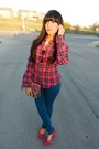 Teal-wetseal-jeans-magenta-plaid-love-culture-blouse