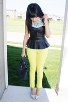 black peplum Forever 21 top - lime green spring JustFab jeans