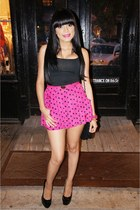 hot pink polka dot Forever 21 shorts - black Charlotte Russe top