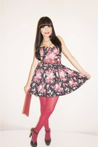ruby red floral AmiClubWear dress - ruby red asos tights - ruby red asos purse