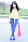 Blue-polka-dot-justfab-jeans-yellow-forever-21-shirt