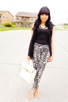 black tribal Forever 21 leggings - white JustFab bag