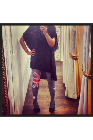 black zaccaria top - blue House of Holland tights