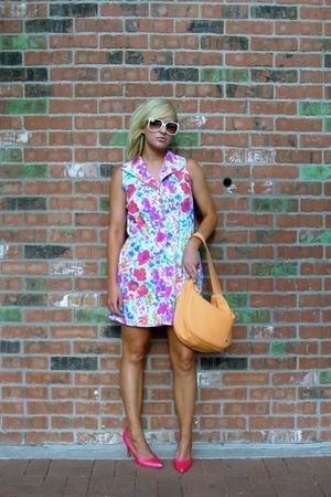 white Urban Renewal by Urban Outfitters dress - pink Charlotte Russe shoes - whi