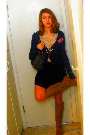 BCBG boots - wilsons leather bag - Ellemenno blouse - hollister cardigan