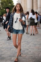 flats - plaid shirt - denim shorts