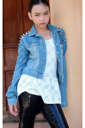 light blue spiked denim Topshop jacket - black sequined Nasty Gal leggings