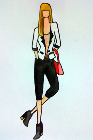 white blazer - pink top - brown belt - red bag - black pants - black boots