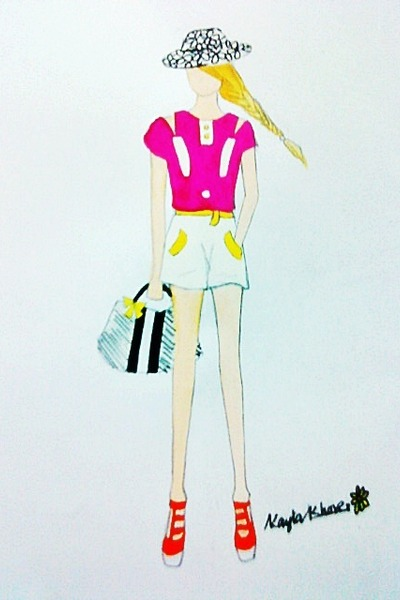 white hat - white bag - white shorts - orange wedges - magenta top
