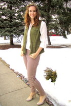 off white H&M blouse - crimson patterned H&M pants - olive green Old Navy vest