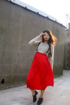 red christian dior skirt - heather gray H designer sweater