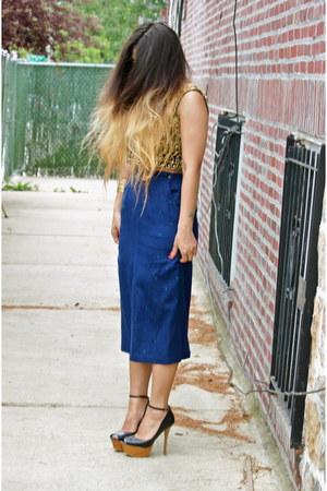 versace skirt - numer one Karen Walker sunglasses - Bakers heels