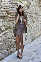 purple romwe skirt - trench Sheinside coat - lace romwe shirt