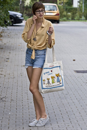 dirt yellow vintage shirt - oxfords vintage shoes - jeans vintage shorts