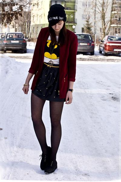 batman romwe shirt - studded romwe skirt