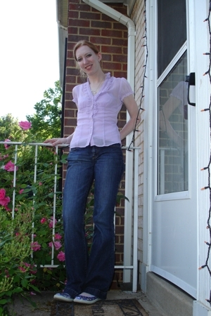 kohls blouse - Express jeans - alloy shoes - pink apple earrings