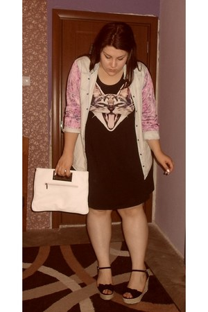 light blue Amisu shirt - black H&M dress - white Thrift Store bag