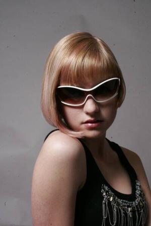 black shirt - white sunglasses