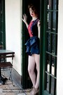 Ruby-red-bodycon-lillie-designs-dress-navy-tiered-lillie-designs-skirt