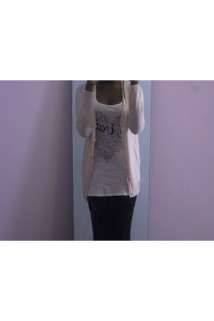 pink H&M vest - white New Yorker top - black H&M leggings