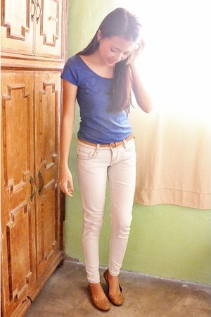 blue top Penshoppe blouse - ivory faded denim Cliff pants