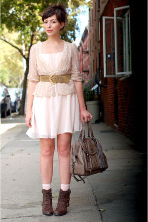 beige modcloth blouse - brown seychelles boots - pink H&M dress - pink socks