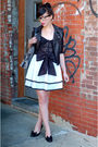 Black-jacket-white-skirt-black-shoes