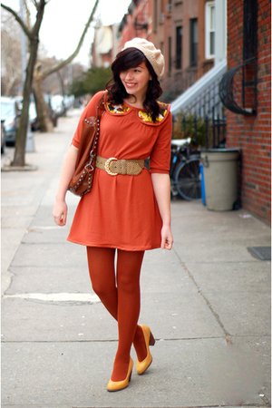 orange postlapsaria dress - brown Rebecca Minkoff purse - gold seychelles shoes