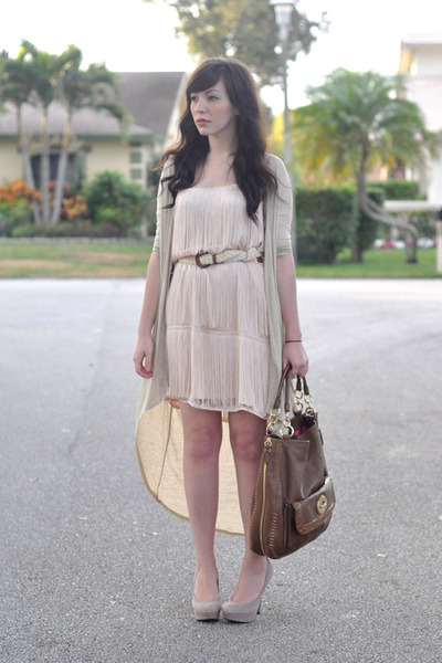 brown coach bag - light pink H&M dress - beige threadsence cardigan
