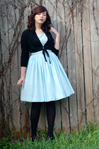 blue 50s vintage dress - black seychelles shoes - black 50s vintage sweater
