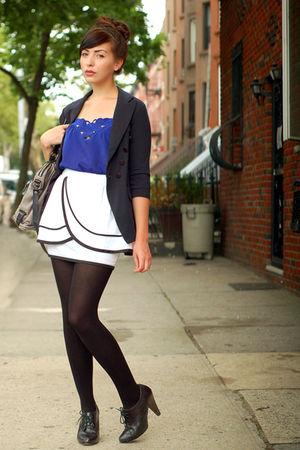 blue blouse - white skirt