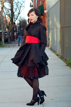 Odjeca xD Red-vintage-dress-black-target-tights-black-target-shoes