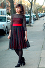 Red-vintage-dress-black-target-tights-black-target-shoes