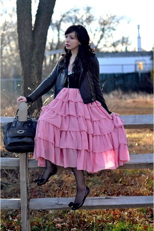 pink asian icandy skirt - black coach jacket - black Nine West shoes - black DKN