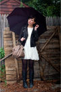 Black-coach-jacket-black-vintage-boots-white-modcloth-dress-beige-coach-ba