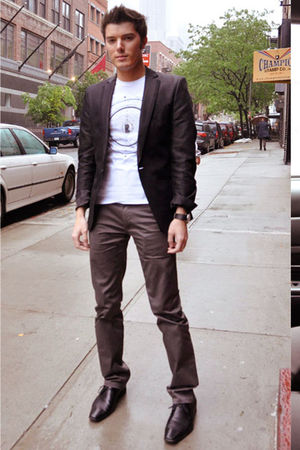 black Zara blazer - white Zara shirt - black Aldo shoes