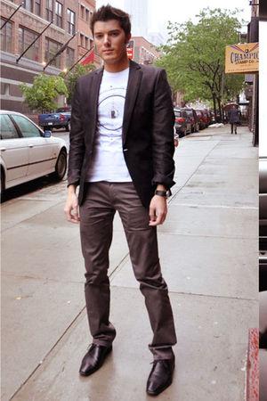 black Zara blazer - white Zara shirt - black Aldo shoes