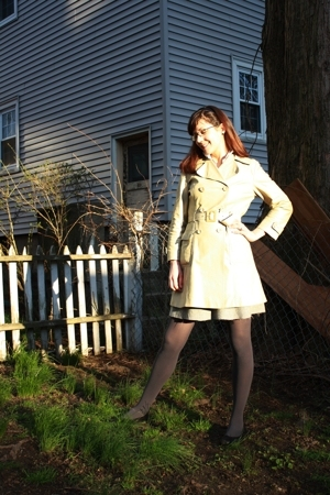 vintage coat - Express sweater - thrifted blouse - thrifted skirt - American App
