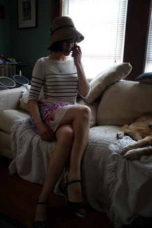 pink Anthro skirt - white Thrifted JCrew sweater - black Italian--from vacation 