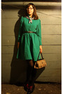 Green-thrifted-vintage-dress-brown-thrifted-vintage-purse-black-thrifted-vin